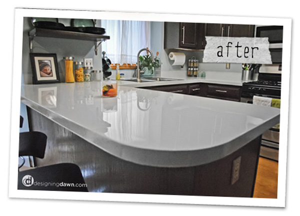 Remodelaholic Glossy Painted Kitchen Counter Top Tutorial