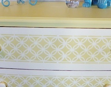 Painted Dresser With Fun Stencil Pattern
