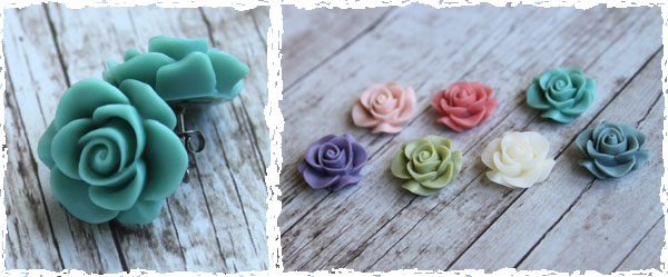 resin rose earrings