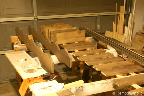 14 Vinegar And Black Tea Stained Boards For Farmhouse Rustic Wood Wall Storage Bins Remodelaholic