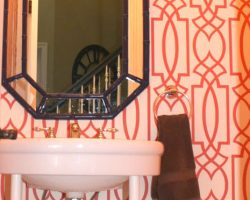 Powder Room Redo With Wall Paper