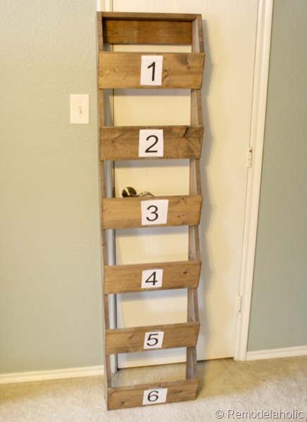 Number Stencil On Farmhouse Wood Storage Wall Bins Remodelaholic