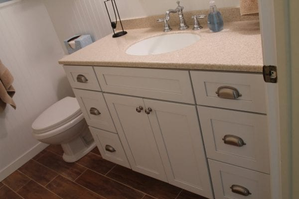 8 White bathroom reveal, by Elizabeth and Co featured on @Remodelaholic