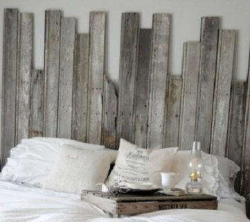Master Bedroom With DIY Rustic Barn Wood Headboard