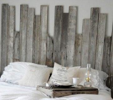 Master Bedroom With DIY Rustic Barn Wood Headboard