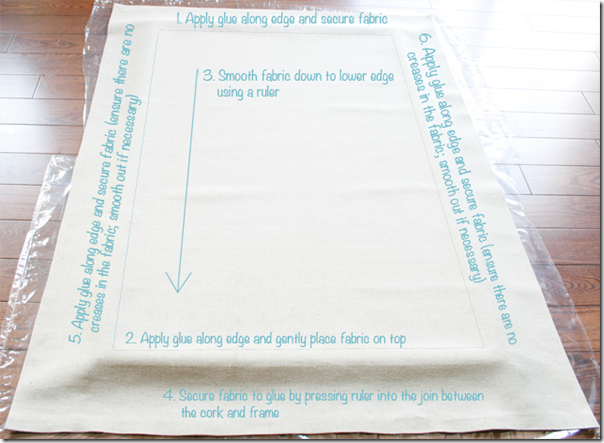 Secure fabric using glue on the shorter then longer sides of the board