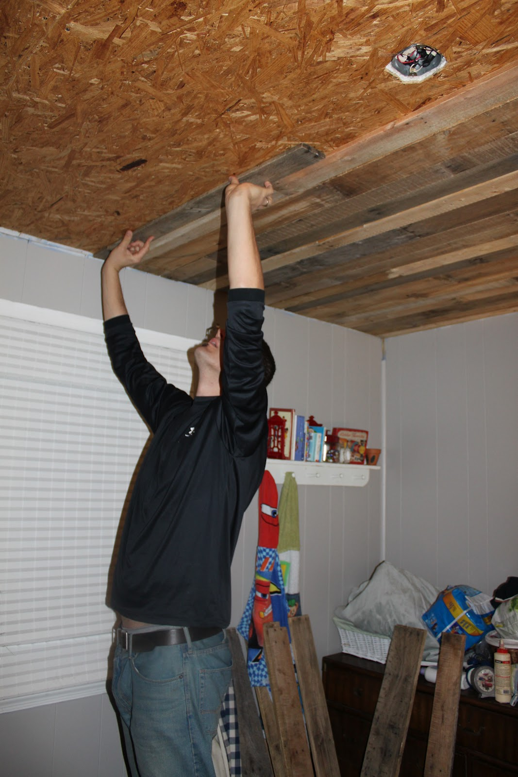 How to install a DIY rustic wood ceiling by Maple Leaves and Sycamore Trees  featured on