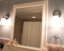 bathroom renovation with new wood grain tile