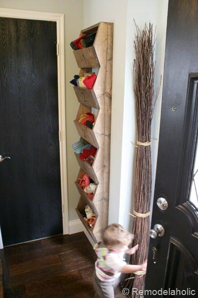 Diy Entryway Wood Organization Wall Storage Bins, Remodelaholic