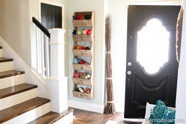 Entryway With Wall Storage Bins DIY Plans From Remodelaholic