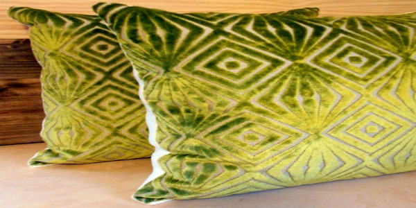 green velvet pillows feature