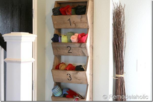 DIY Rustic Wall Storage Bins by RemodelAholic