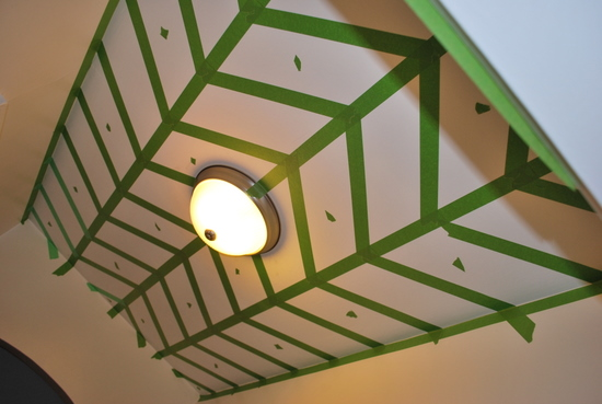 5 DIY painted pattern on a ceiling, herringbone, by The Sweetest Digs featured on @Remodelaholic