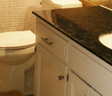 Bathroom Makeover; Yellow & Gray Color Scheme