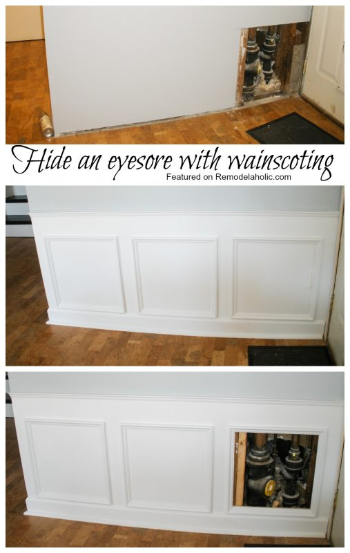 Remodelaholic Hiding Plumbing Access With Wainscoting