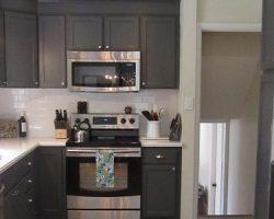 Kitchen Redo With Dark Gray Cabinets & White Subway Tile