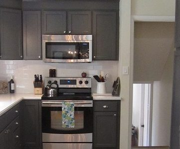 Kitchen Redo With Dark Gray Cabinets & White Subway Tile