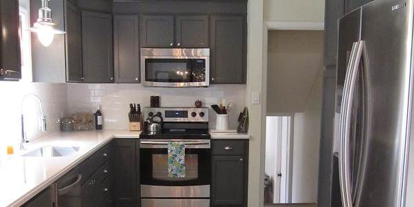 Remodelaholic | Kitchen Redo With Dark Gray Cabinets & White Subway