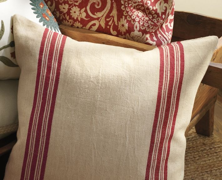 To get an awesome grain sack pillow on your naked chairs, here are the ...
