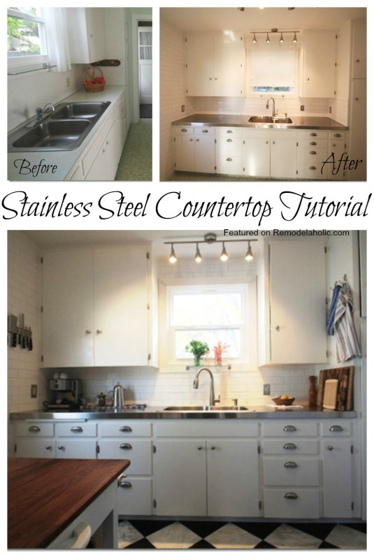 Remodelaholic Affordable Stainless Steel Countertops Diy