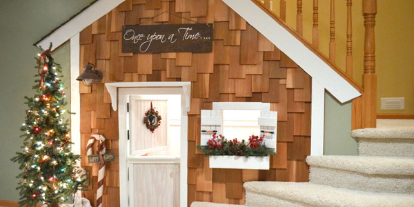 Remodelaholic Under Stairs Playhouse With Cedar Shake