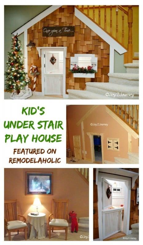 Remodelaholic Under Stairs Playhouse With Cedar Shake