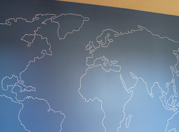 World Map Outline Mural
