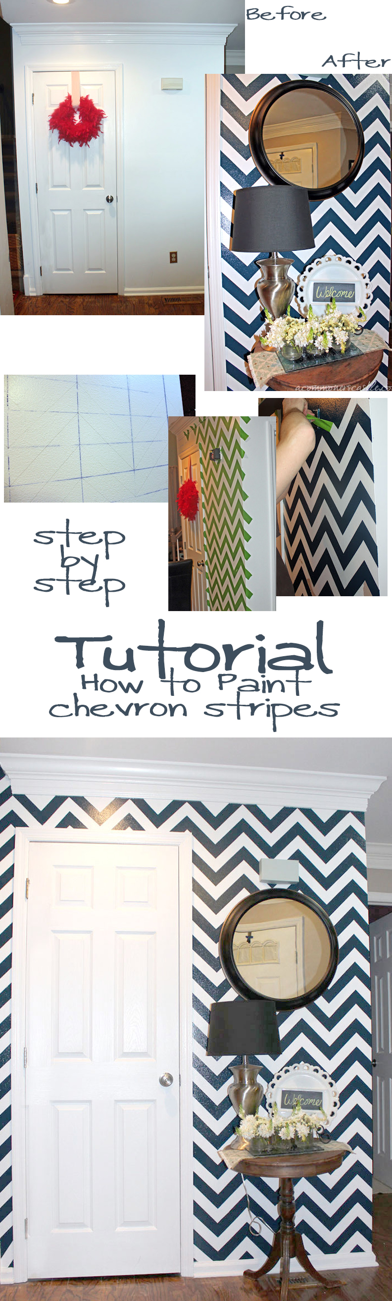 Chevron Stripe Painting Tutorial #chevron #stripe #painting #wall