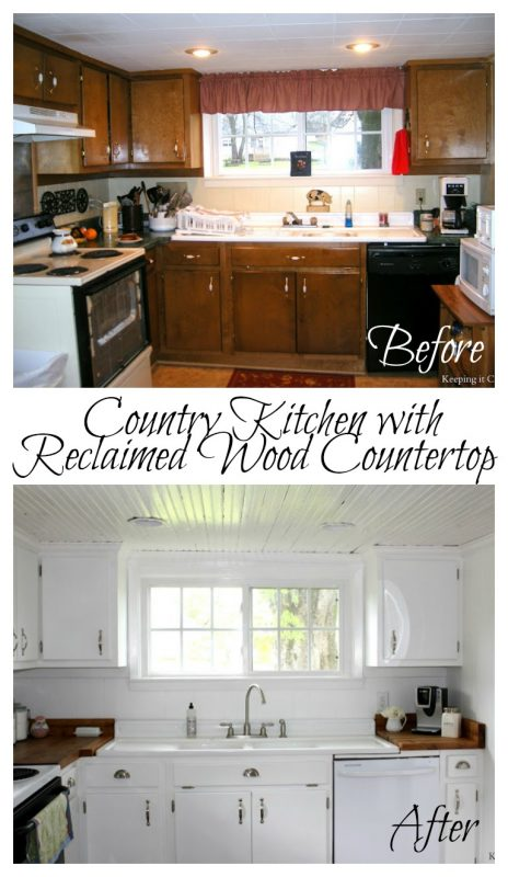 Great Country Kitchen with Reclaimed Wood Countertop
