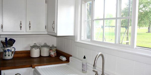 County Kitchen With DIY Reclaimed Wood Countertop