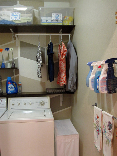DIY Laundry Room Makeover With Herringbone Painted Wall By Design Build Love Featured On Remodelaholic