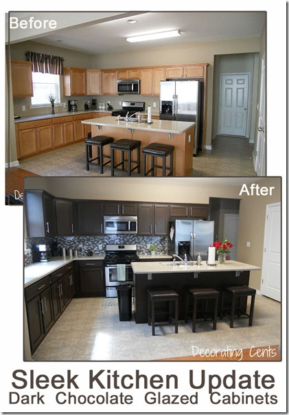 before and after chocolate brown kitchen rustoleum kit copy