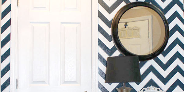 chevron stiped wall with step-by-step tutorial