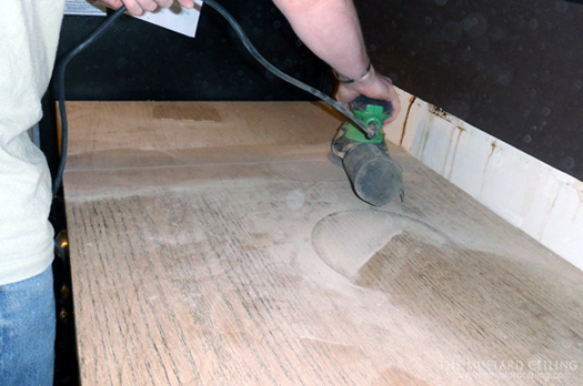 filling and sanding solid wood DIY countertops made from wood doors, The Mustard Ceiling on @Remodelaholic