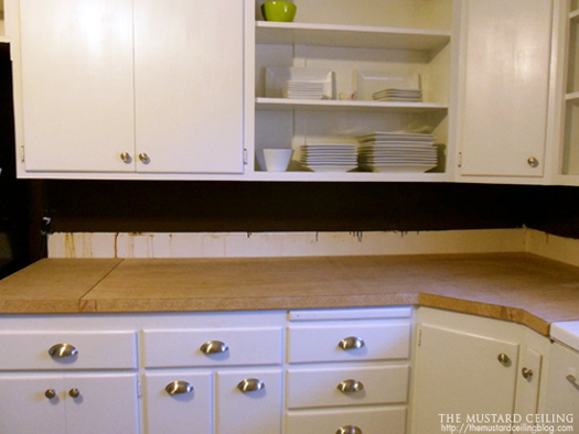 installing solid wood countertops made from old wood doors, The Mustard Ceiling on @Remodelaholic