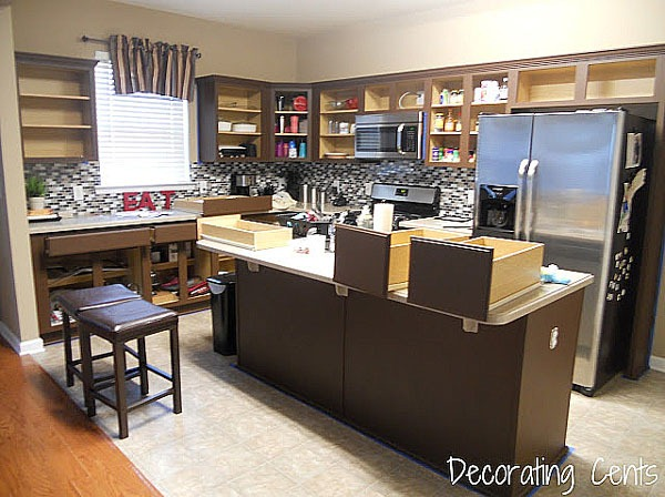 Remodelaholic Sleek Dark Chocolate Painted Cabinets