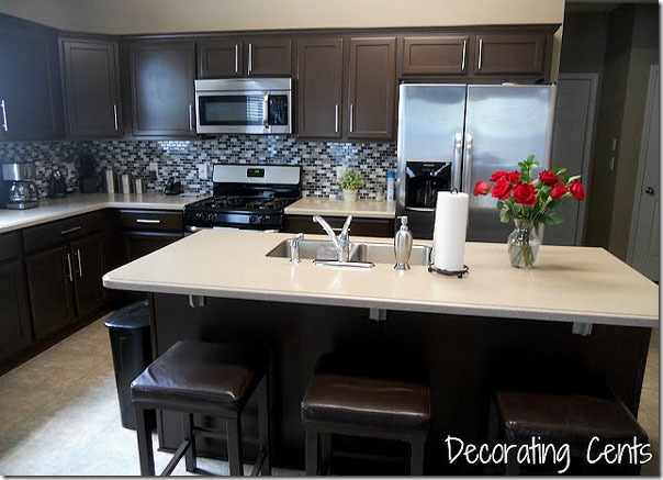 Interior Dark Chocolate Kitchen Cabinets remodelaholic sleek dark chocolate painted cabinets kitchen34