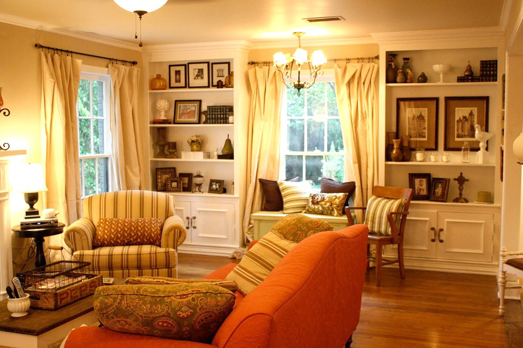 updated living room from italian to country cottage