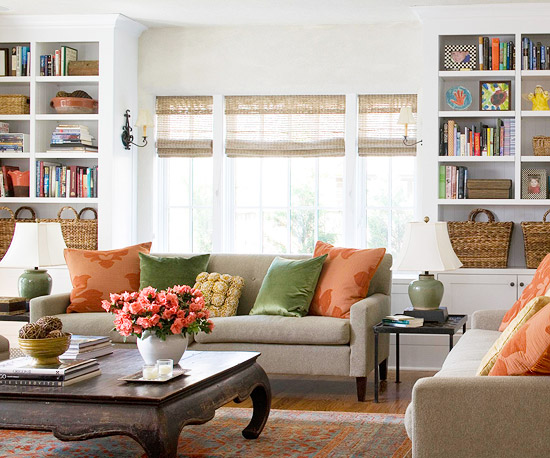 Living Room Inspiration; bookshelves in living room