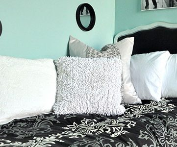 Aqua and Black Girls Bedroom