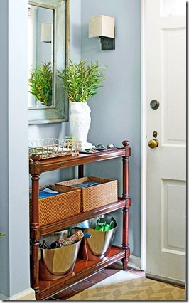 Entry drop off console table organized
