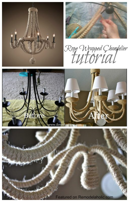 Vintage Rope Wrapped Chandelier Tutorial