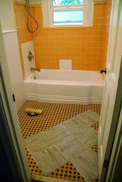 Remodelaholic bathroom redo grouted peel and stick - How to put down tile in bathroom ...