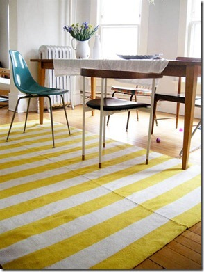 Yellow striped rug