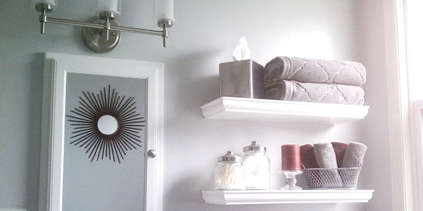 Remodelaholic bathroom update gray walls and red accent - Accent color for gray and white bathroom ...