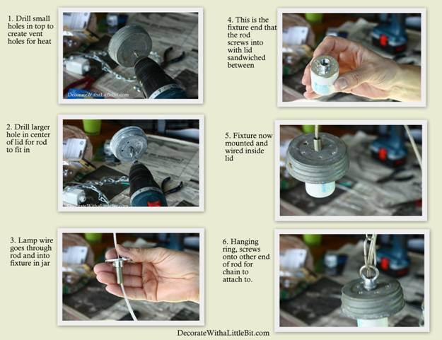 DIY Vintage Canning Mason Jar Pendant Lights (3)