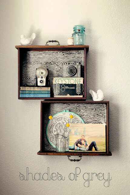 Remodelaholic unique drawer shelves for Unique shelves diy