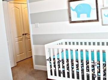 Grey and White Striped Nursery and RA 127