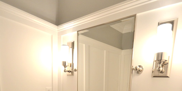 powder room transformed with molding on walls 1
