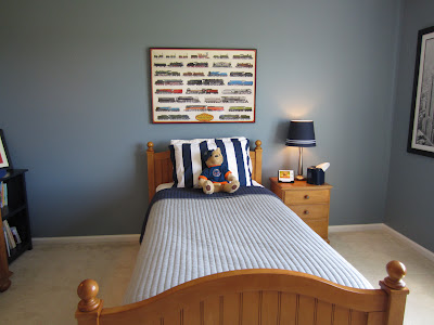 Remodelaholic Blue Boys Bedroom Makeover With Chevron Curtains